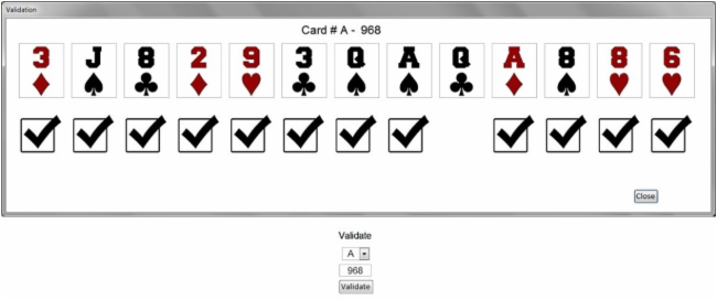 DINGO card validation popup (Queen of Clubs not called)