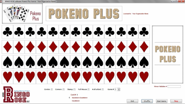 Pokeno Plus main screen